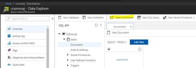 Azure CosmosDB Explorer - Open Explorer