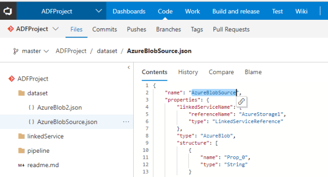 Code Repository for Azure Data Factory - Code in VSTS