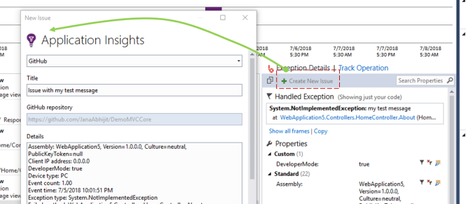Create GitHub Issues for App Insights Telemetry from Visual Studio - Create Issue