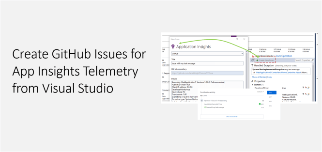 Create GitHub Issues for App Insights Telemetry from Visual Studio - Featured