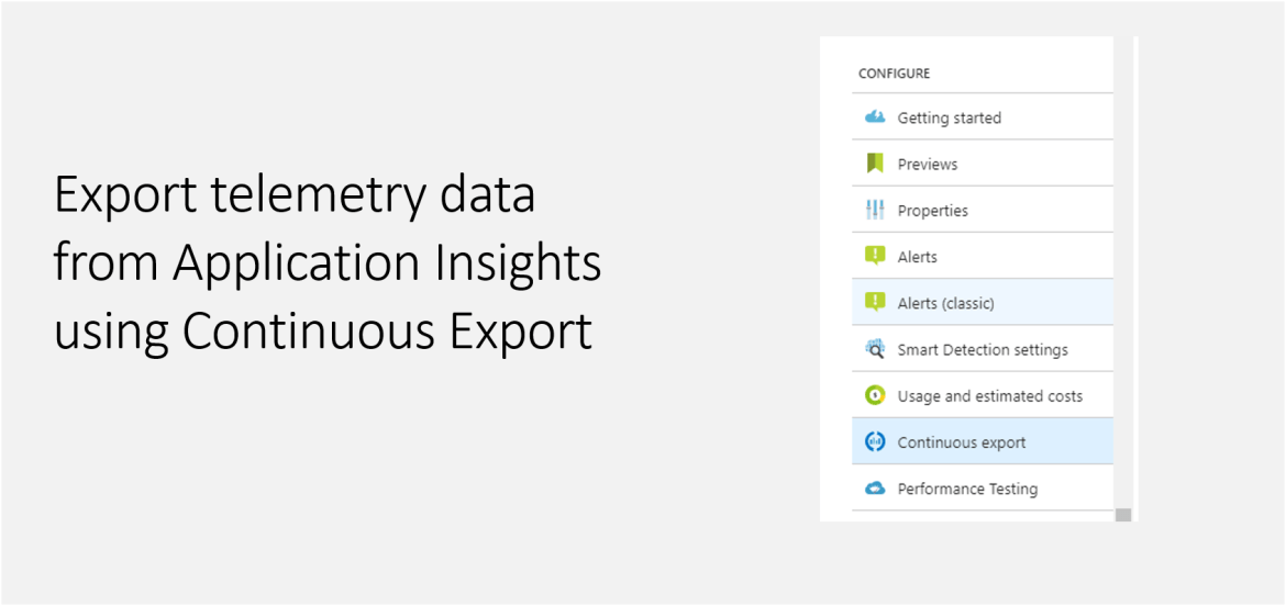 Export telemetry data from Application Insights using Continuous Export