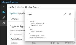 Finding Azure Data Factory Activity Execution Details - Input JSON