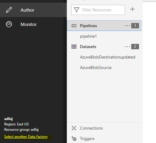 Selecting Azure Data Factory in Authoring Tool - Select another data factory