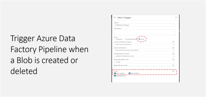 Trigger Azure Data Factory Pipeline when a Blob is created or deleted