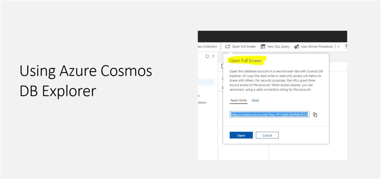 Using Azure Cosmos DB Explorer
