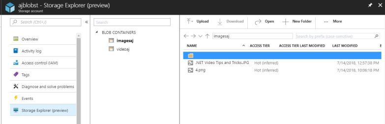 Using Storage Explorer in the Azure Portal