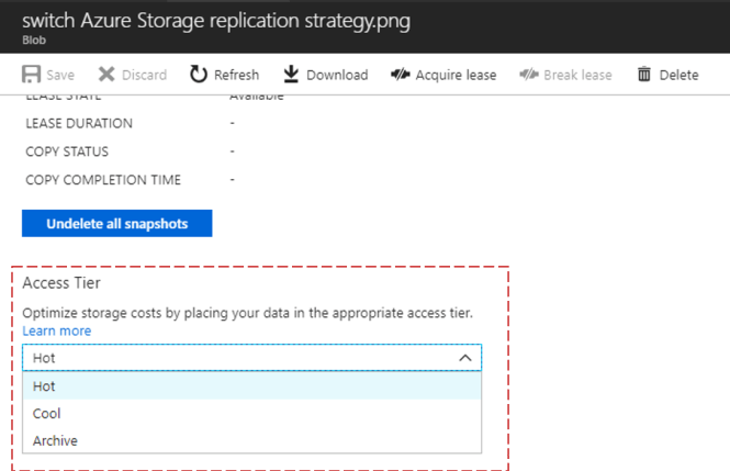 update Access Tier in Azure Storage Blob Level - Access Tier Azure Portal