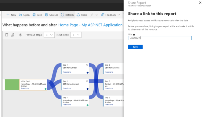 User Flows in Application Insights - Save Share