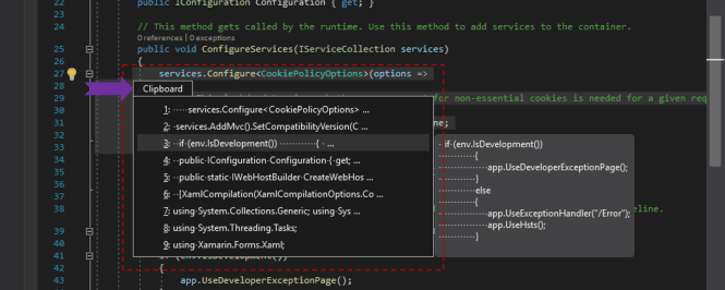 Clipboard Ring in Visual Studio 2019