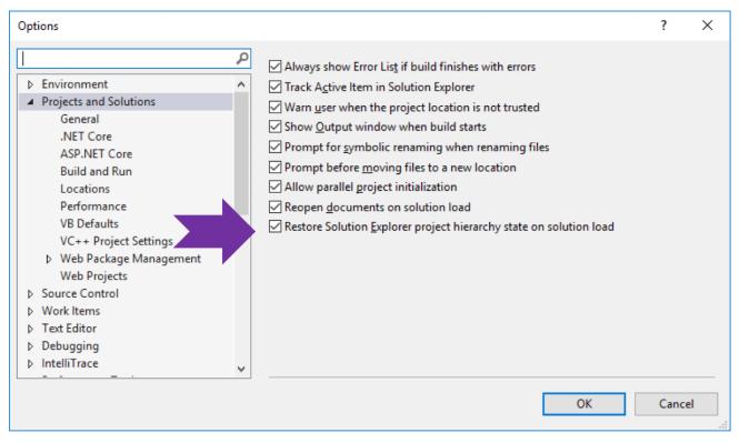 Restore Solution Explorer in VS2019