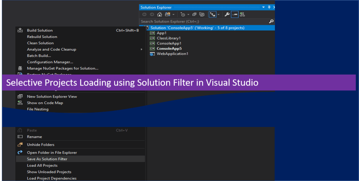 Selective Projects Loading using Solution Filter in Visual Studio