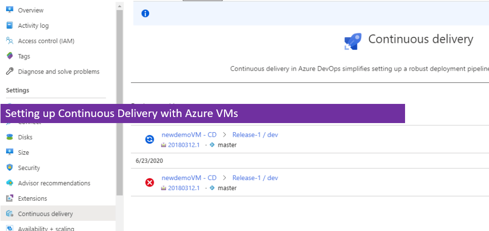 Setting up Continuous Delivery with Azure DevOps directly from Azure VMs