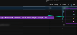 Application Insights Telemetry Contrast trends using Pin Multiple Entry