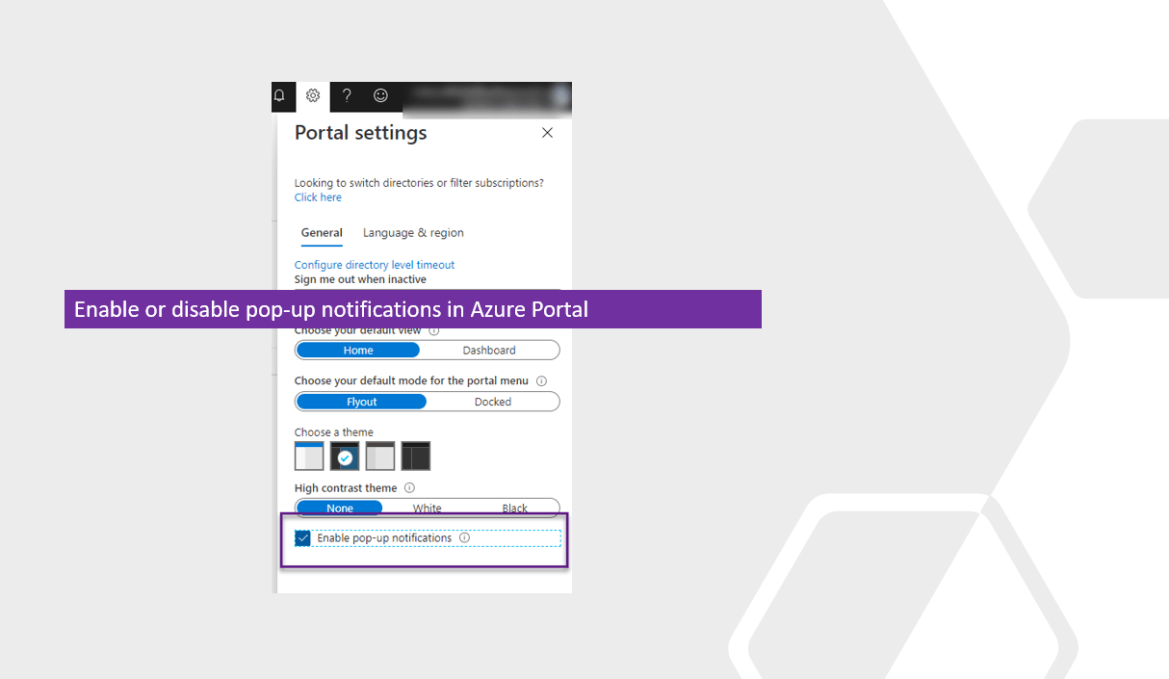Enable or disable pop-up notifications in Azure Portal