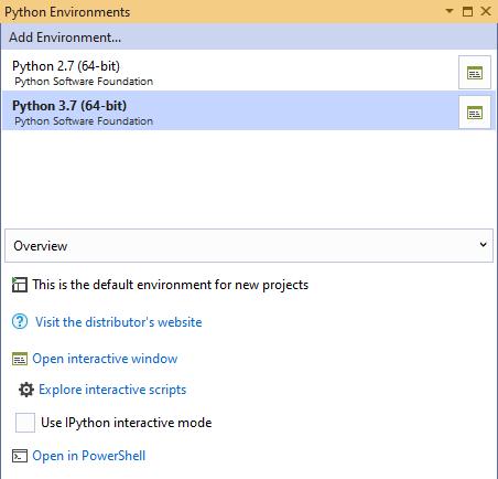 Configuring Environment for Visual Studio Python Interactive Window