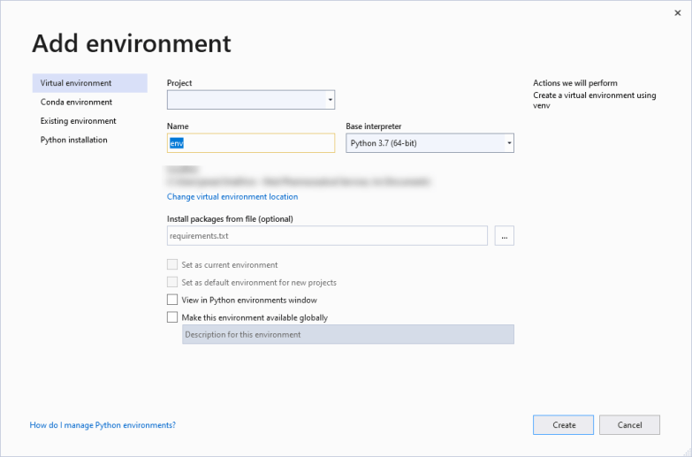 Add New Environment for Visual Studio Python Interactive Window