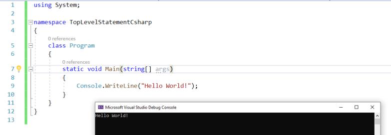 Basic Hello World C# Code