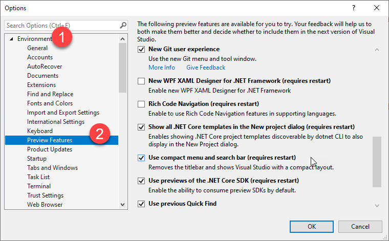 enable preview features in visual studio