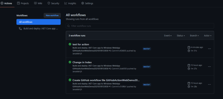 List of All Workflow from GitHub Actions