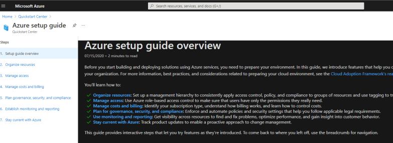 Quickstart Center Get Started Azure Setup Guide
