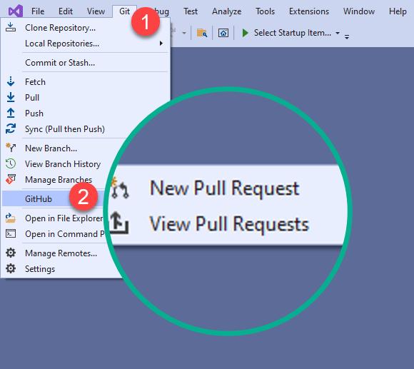 Git Pull Request Deep Links in Visual Studio