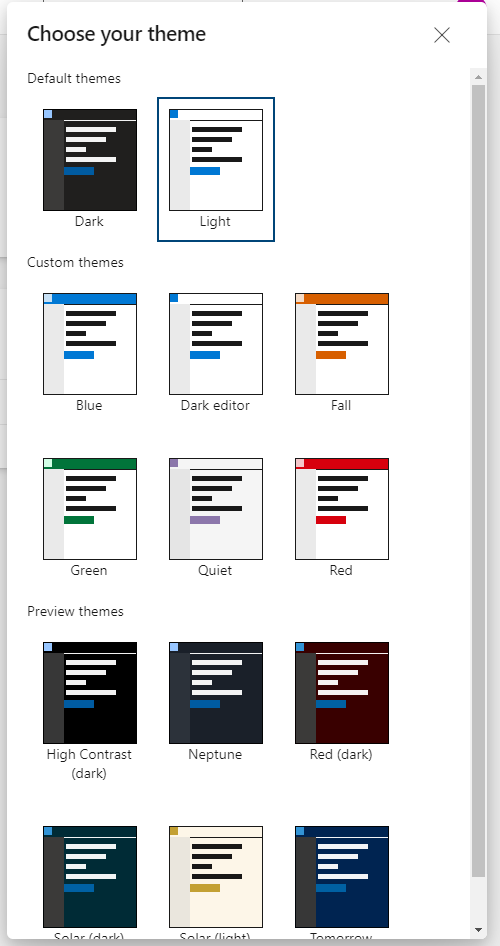 Choose from Experimental Themes