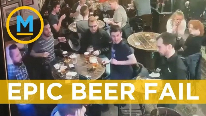 Waiter spilling 15 beers caught on camera in epic fail video | Your Morning