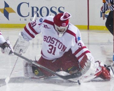 MICHELLE JAY/DAILY FREE PRESS STAFF Sophomore goaltender Sean Maguire stopped 38 shots during Saturday's 2-0 loss to Notre Dame.