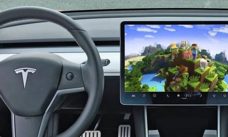 Tesla Model 3 mit Minecraft - Fotomontage DailyGame.at