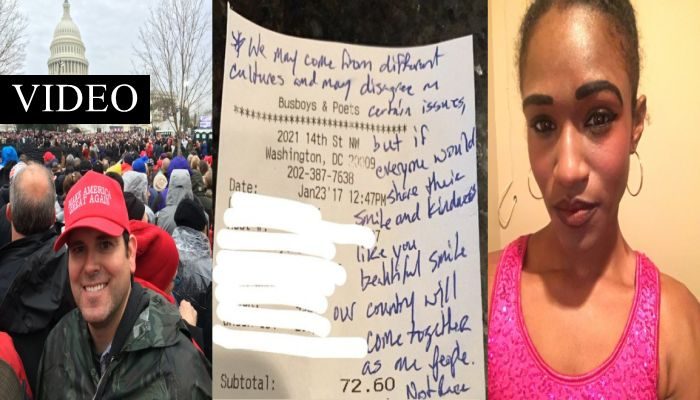 """Black DC Waitress """"OVERWHELMED"""" By The Note Received From White Trump Supporter"""
