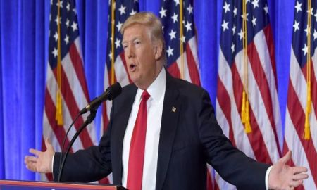 US President-elect Donald Trump speaks during a press conference January 11, 2017 at Trump Tower in New York. Trump held his first news conference in nearly six months Wednesday, amid explosive allegations over his ties to Russia, a little more than a week before his inauguration. Timothy A. Clary/AFP/Getty Images.