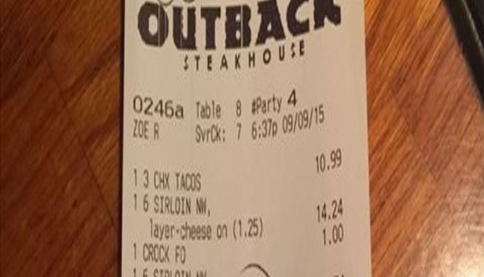 Outback Steakhouse Employees Leave Note On Police Officer's Receipt [PHOTO]