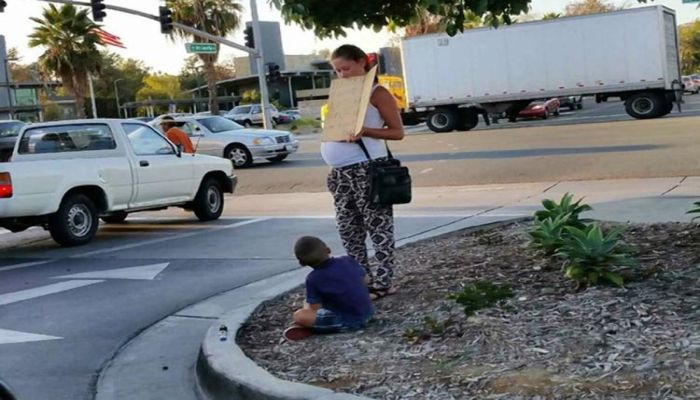 Pregnant Panhandling Mom Does Something Shocking After Begging For Money