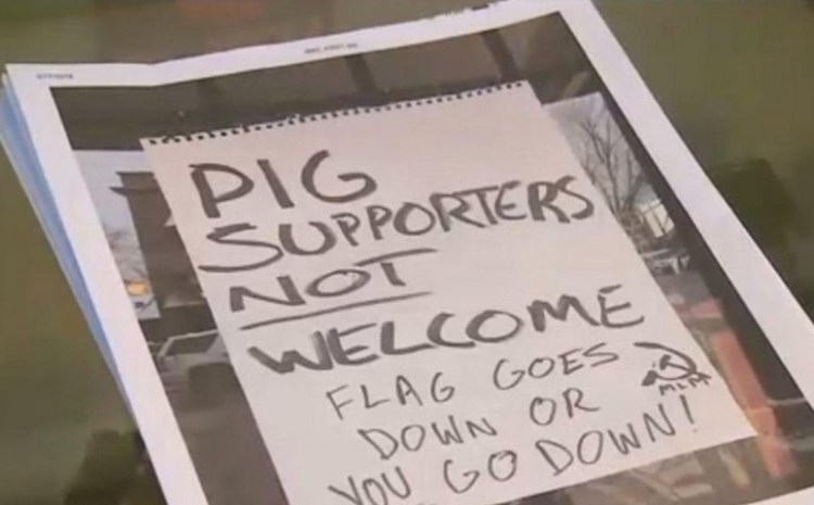 'Pig Supporters Not Welcome' – MO Business attacked over pro-police flag