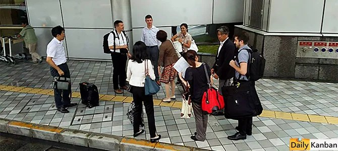 Departing Kyushu, Friday afternoon. Backpacker left: Martin Koelling. Suit-carrier right: Craig Trudell