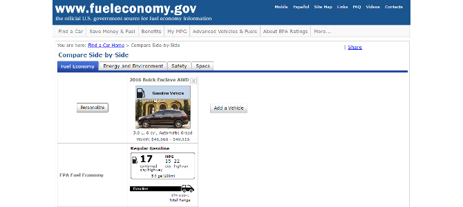 The correct fuel economy rating for this vehicle, from the EPA's website today.