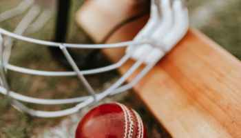 blue cricket helmet and red ball