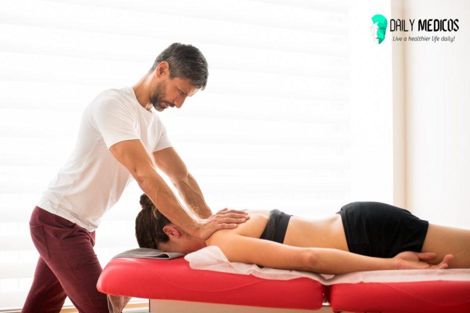 Trapezius myofascial treatment in osteopath office