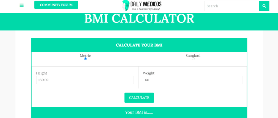 BMI Calculator 5 - Daily Medicos