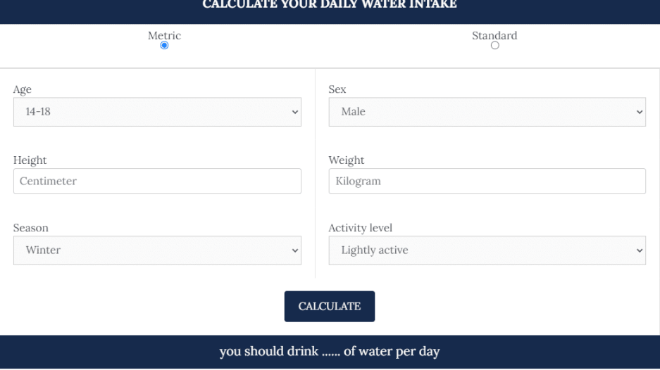 Water Intake Calculator 1 - Daily Medicos