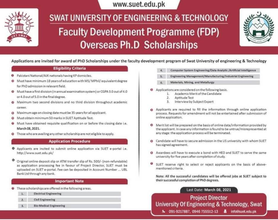 SWAT UET Overseas PH.D. Scholarships 2021 2 - Daily Medicos