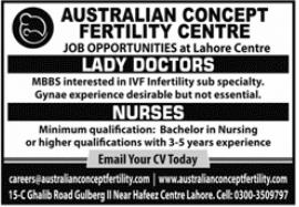 NurseJob in Australian Concept Fertility Centre (Lahore) 2 - Daily Medicos