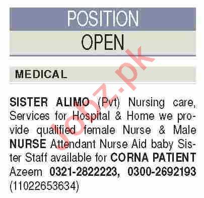 Nurse Aid Bay & Nursing Staff Job in Sister Alimo (Karachi) 1 - Daily Medicos