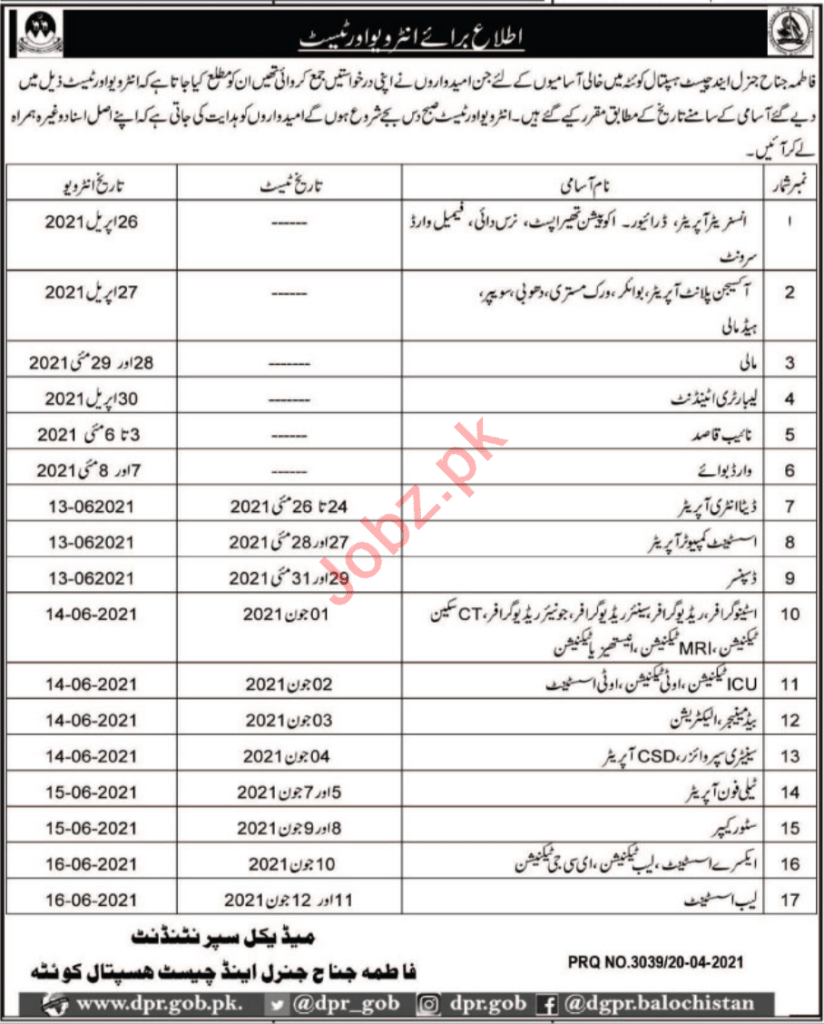 Nurse, Dai & Female Ward Servant Job in Fatima Jinnah General & Chest Hospital (Quetta) 2 - Daily Medicos