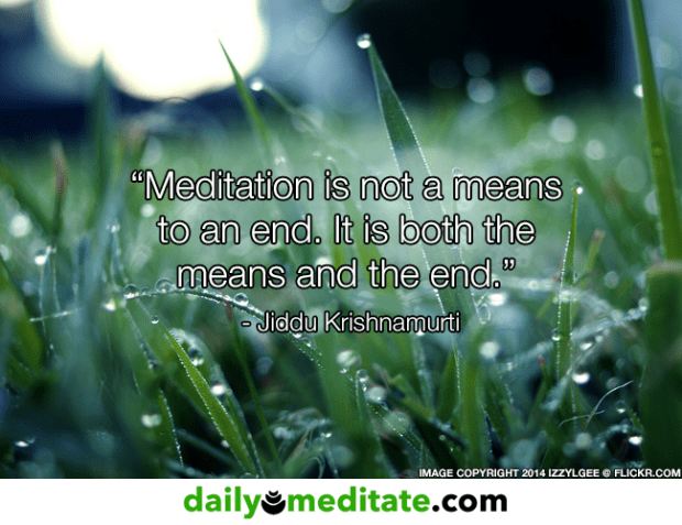 """Meditation Quote 6: """"Meditation is not a means to an end. It is both the means and the end."""" - Jiddu Krishnamurti"""