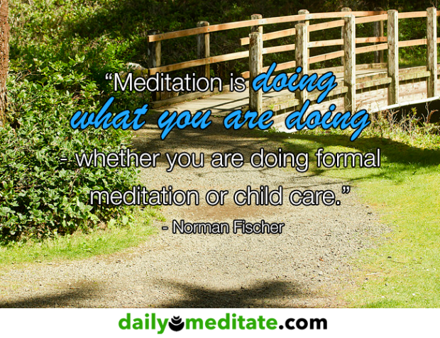 """Meditation is doing what you are doing - whether you are doing formal meditation or child care."" - Norman Fischer"