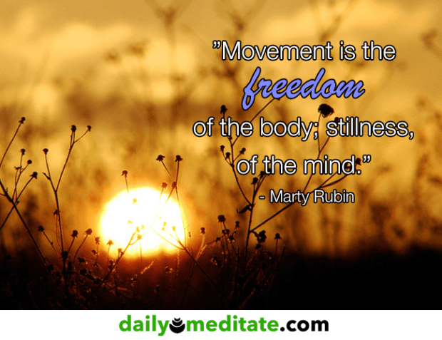 """""""Movement is the freedom of the body; stillness, of the mind."""" - Marty Rubin"""