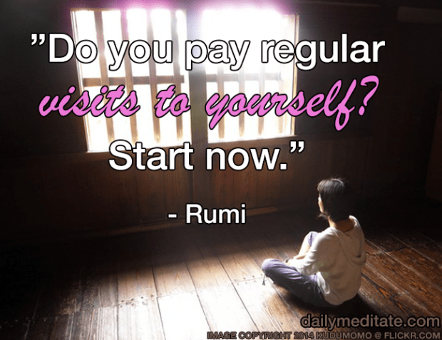 """Do you pay regular visits to yourself? Start now."" - Rumi"
