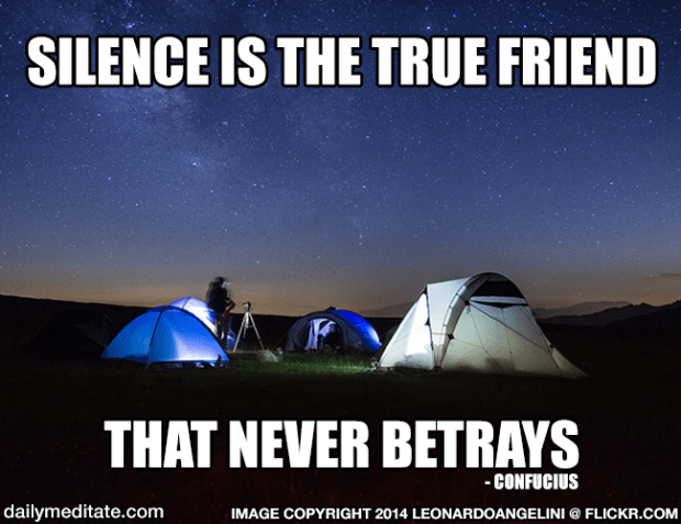 """""""Silence is the true friend that never betrays."""" - Confucius"""