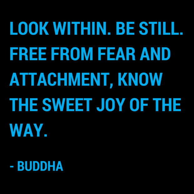"""""""Look within. Be still. Free from fear and attachment, know the sweet joy of the way."""" – Buddha"""